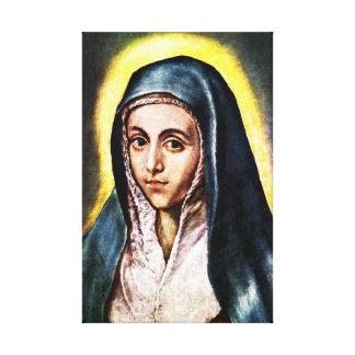 Abrigo de la lona del Virgen María de El Greco Impresión En Lienzo Estirada