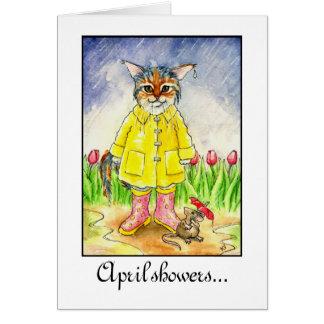 Abril riega el gato mojado en tarjeta del temporal