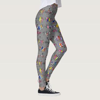 Abstracción de líneas onduladas leggings