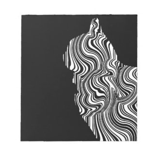 Abstract Black and White Cat Swirl Monochroom Bloc De Notas