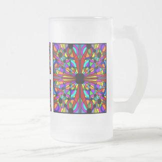 AbstractStained Mug4 alto helado vidrio Jarra De Cerveza Esmerilada