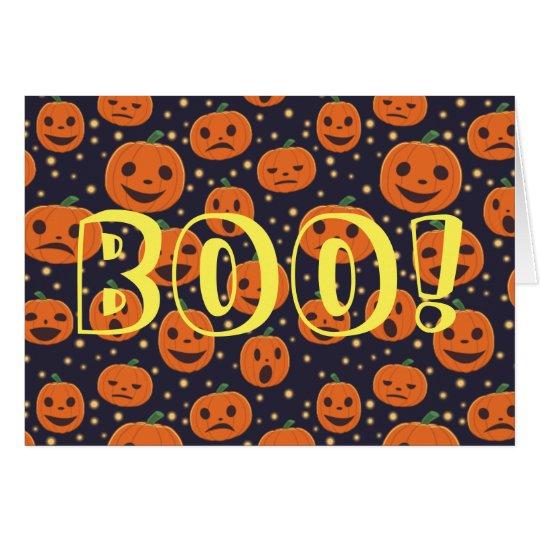 ¡ABUCHEO de Halloween! Linterna de Jack O del Tarjeta De Felicitación