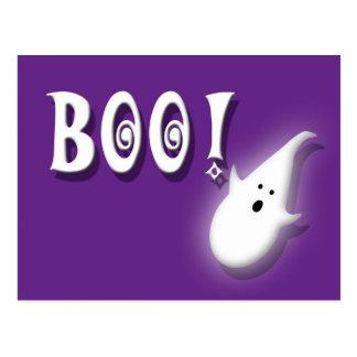 ¡Abucheo! Púrpura del fantasma de Halloween Postal