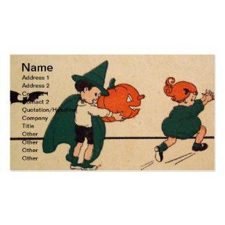 ¡Abucheo! (Tarjeta de Halloween del vintage) Plantillas De Tarjeta De Negocio