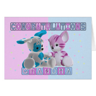Abuela a la enhorabuena de los gemelos tarjeta de felicitación