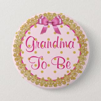 Abuela a ser botón rosado y del oro de la fiesta