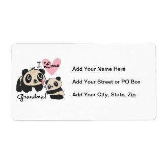 Abuela del amor de los osos de panda I Etiqueta De Envío