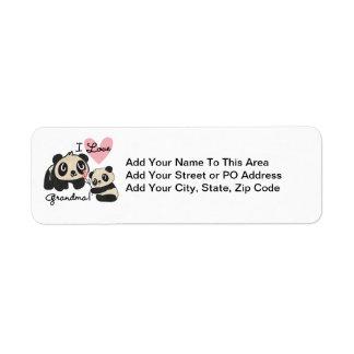 Abuela del amor de los osos de panda I Etiqueta De Remitente