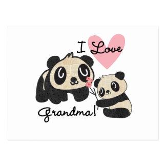 Abuela del amor de los osos de panda I Postal