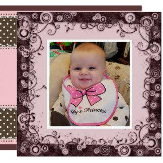 Abuela del feliz cumpleaños, rosa y cumpleaños de invitación 13,3 cm x 13,3cm