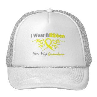 Abuela - llevo una ayuda amarilla de los militares gorras