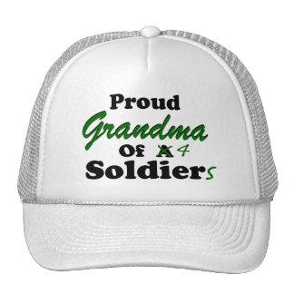 Abuela orgullosa de 4 soldados gorro de camionero