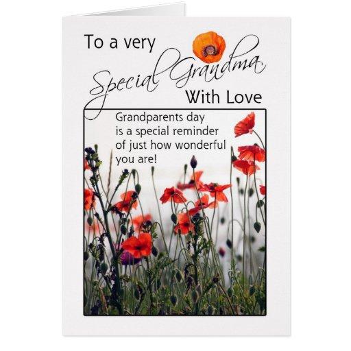 Abuela, tarjeta del día de los abuelos - amapolas