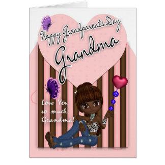 Abuela, tarjeta del día de los abuelos - niña lind