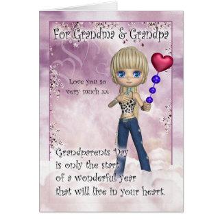 Abuela y abuelo tarjeta del día de los abuelos -