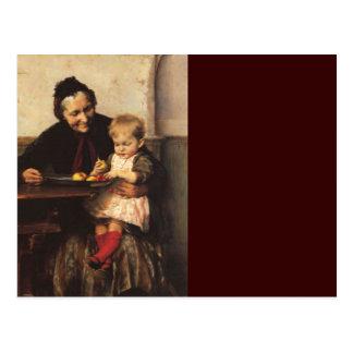 Abuela y nieto con la cesta de fruta postal