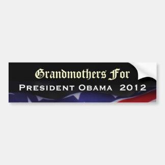 Abuelas para el pegatina 2012 de presidente Obama Pegatina De Parachoque
