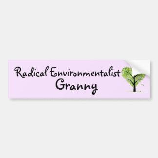 Abuelita radical del ecologista pegatina para coche