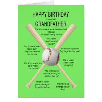 Abuelo, chistes del béisbol del cumpleaños tarjeta de felicitación