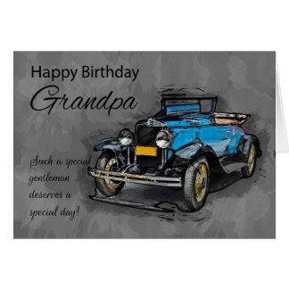 Abuelo, coche azul del vintage en fondo de la tarjeta de felicitación