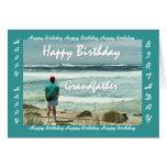 Abuelo - feliz cumpleaños - hombre y olas oceánica felicitación