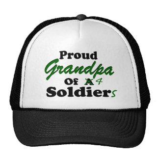 Abuelo orgulloso de 4 soldados gorros bordados