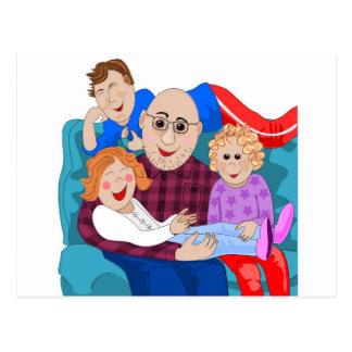 Abuelo y nietos postal