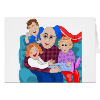 Abuelo y nietos tarjeta de felicitación