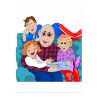 Abuelo y nietos tarjetas postales