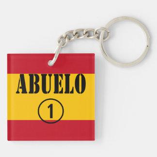 Abuelos españoles: Uno de Abuelo Numero Llavero Cuadrado Acrílico A Doble Cara