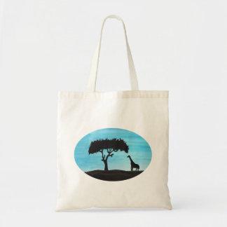 Acacia y jirafa bolso de tela