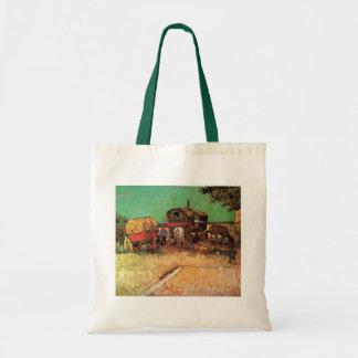 Acampamento de las caravanas de los gitanos de bolsa tela barata