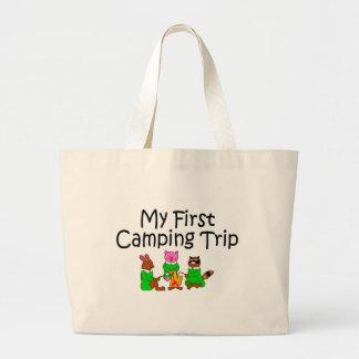 Acampando mi primera acampada bolsa tela grande