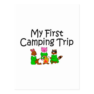 Acampando mi primera acampada tarjeta postal