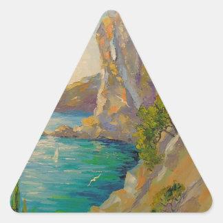 Acantilados por el mar pegatina triangular