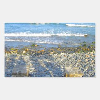 Acceso rocoso de la playa de York Pegatina Rectangular