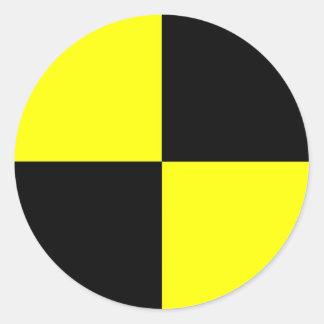 accidente de tráfico de la muestra del símbolo de pegatina redonda