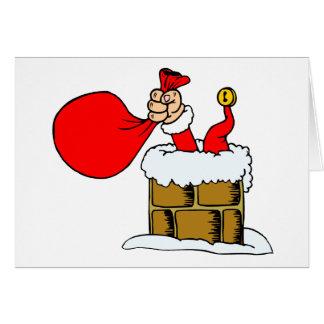 Accidente divertido de la chimenea de Papá Noel de Tarjeta De Felicitación