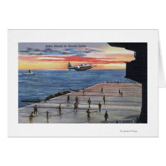 Acción a bordo portaaviones - marina de guerra de tarjeta
