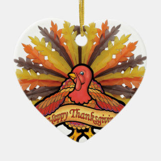 Acción de gracias adorno de cerámica en forma de corazón