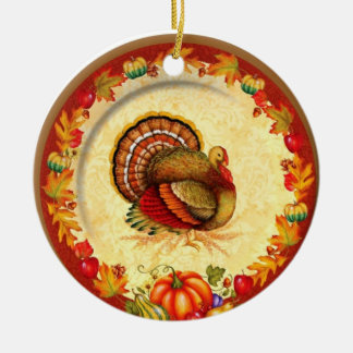 Acción de gracias adorno navideño redondo de cerámica