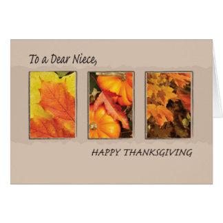 Acción de gracias de la sobrina tres hojas tarjeta de felicitación
