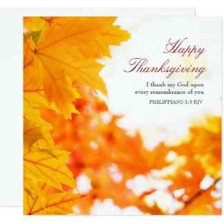 Acción de gracias del cristiano de las hojas de invitación 13,3 cm x 13,3cm