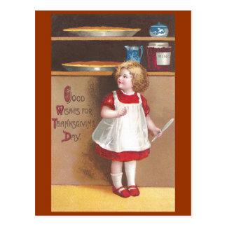 Acción de gracias del vintage del chica y de los p tarjetas postales
