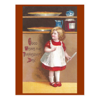 Acción de gracias del vintage del chica y de los postal