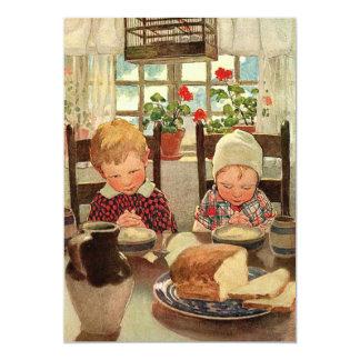 Acción de gracias del vintage, niños agradecidos invitación 12,7 x 17,8 cm