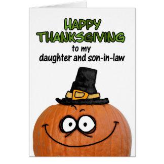 Acción de gracias feliz a mi hija y yerno tarjetón