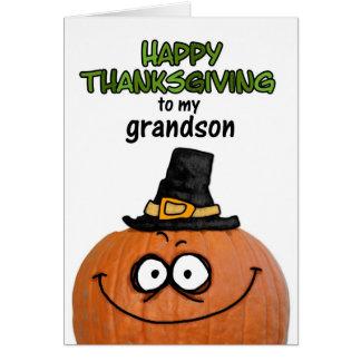 Acción de gracias feliz a mi nieto tarjeta de felicitación