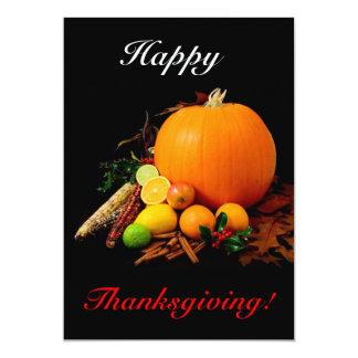 Acción de gracias feliz con la calabaza y la fruta invitación 12,7 x 17,8 cm