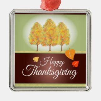 Acción de gracias feliz con los árboles de la adorno cuadrado plateado